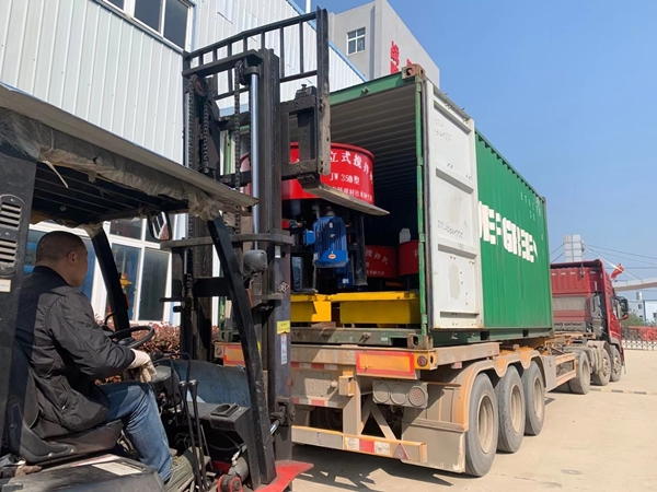 block machine shipped to South America